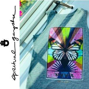 New Spiritual Gangster Kids Rainbow Butterfly Strength Tank Top